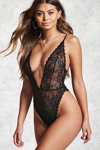 cf98ef93e9de Forever 21 Sheer Lace Plunging Bodysuit Sexy Lingerie Boudoir Underwear  Nightwear Teddy Fashion Style Intimates