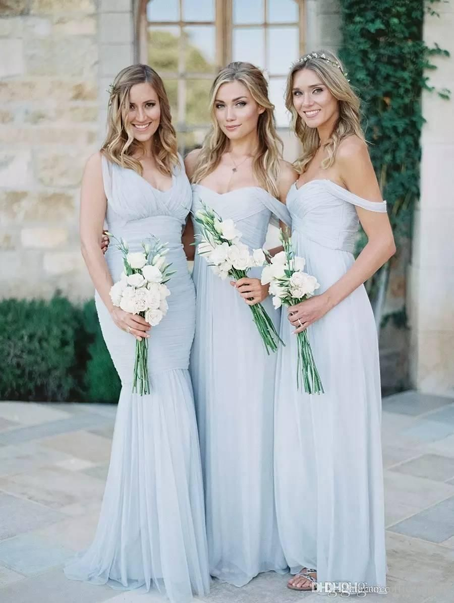 8ad8614ce117 2017 Cheap Simple Beach Country Sky Blue Chiffon Ruched Bridesmaid Dresses  Off The Shoulder Backless Long Wedding Guest Gowns for Girls