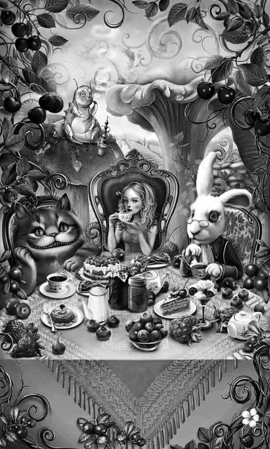 Black And White Alice In Wonderland Drawings Alice In Wonderland Artwork Alice In Wonderland