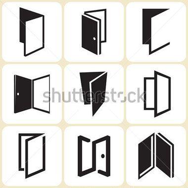 Door Icons Set Stock Vector Clipart Me ロゴデザイン