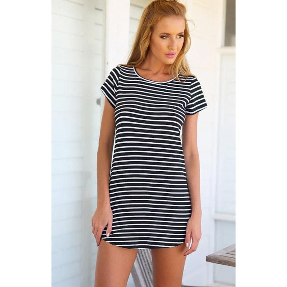 summer style vestidos women casual loose black white stripe