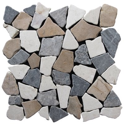 Pebble Tile Fit Random Sized Natural Stone In Tan Grey Blend