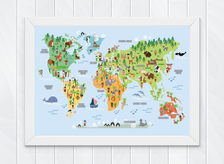 Children S World Map Wall Print Educational World Map For Kids