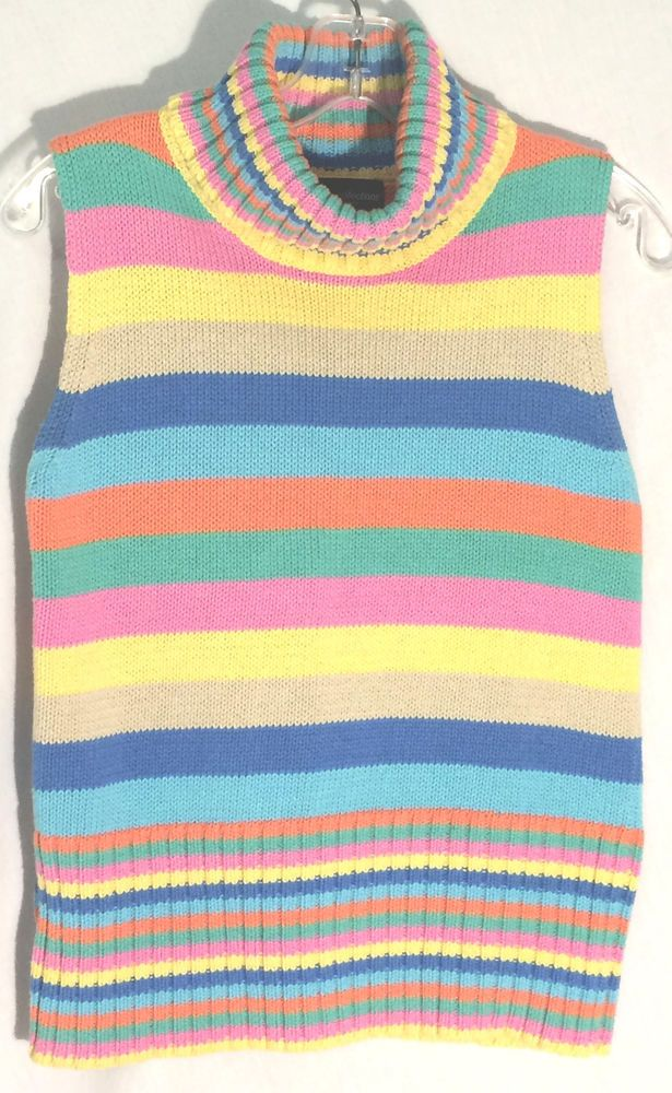 K. B. COLLECTIONS -100% Cotton Multi-Color Striped Turtleneck Sweater - Petite M #kbcollections #Turtleneck #sweater #top #stripes #petite #medium #P #M