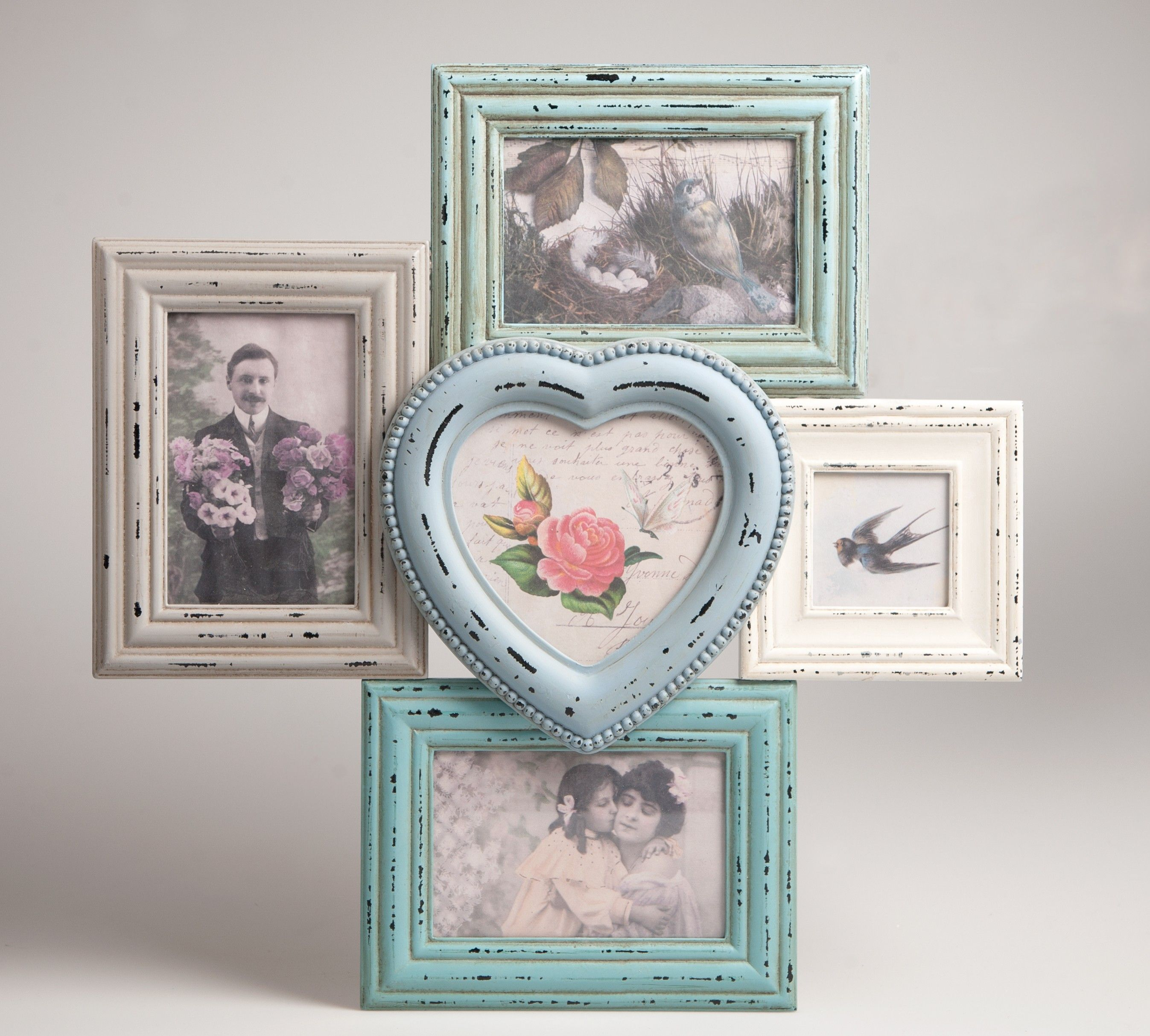 Antic shabby chic multi portrait photo frame pastel colours antic shabby chic multi portrait photo frame pastel colours collage heart delilah jeuxipadfo Images