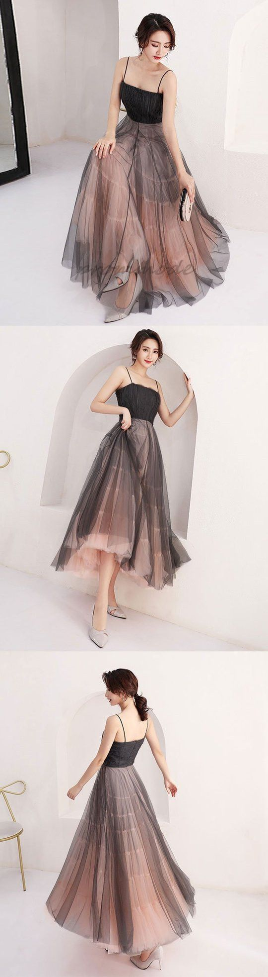 Cute black tulle short prom dresses with strapshomecoming dresses