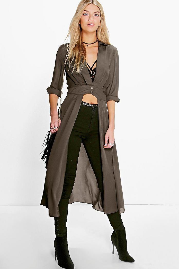 77c8ea09358d Plunge Neck Split Maxi Shirt in 2019 | closet | Maxi shirts, Fashion ...
