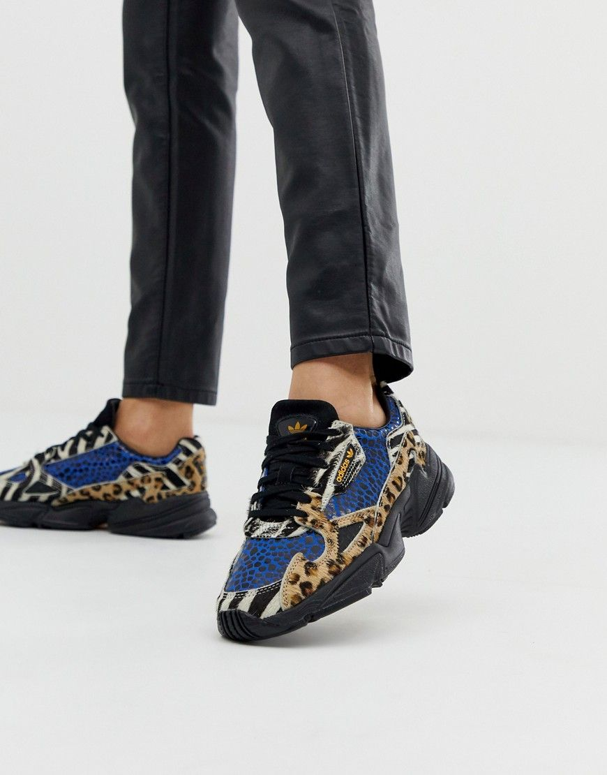 adidas Originals Falcon sneakers in contrast leopard prints ...