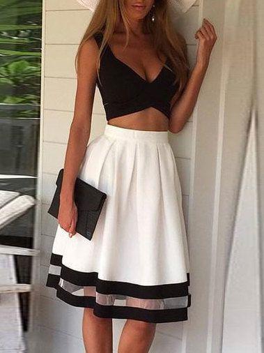 Two Piece Set Midriff Baring High Waist Casual Dress Tank Dresses Skirt Fashion Fashion Two Piece Dress