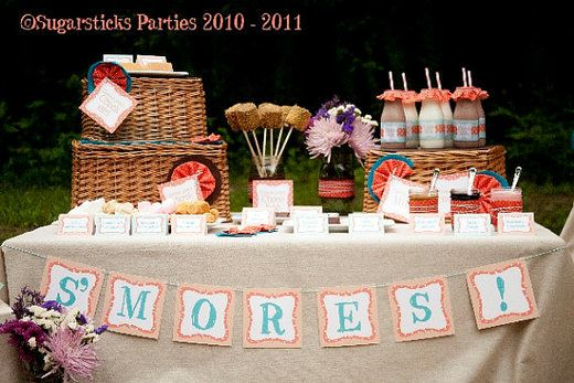 Camping party dessert table.