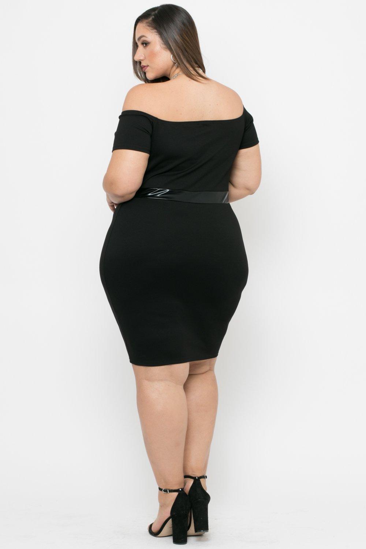 Plus Size Naomi Faux Patent Leather Bodycon Dress - Black ...