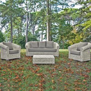 Set salotto bianco wash con divano, 2 poltrone e tavolino