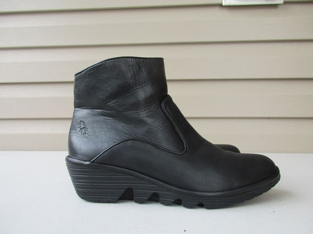 1126e27167a26 Fly London Leather Ankle Boots Black Size 41 / 10-10.5 Portugal #FLYLondon  #Booties