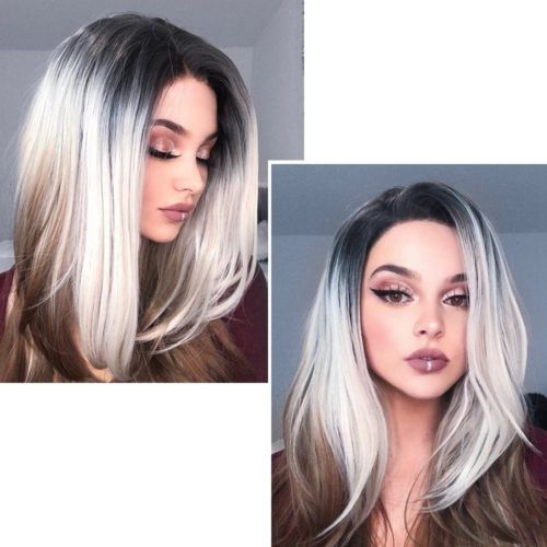 Ombre Wig 18 Rose Net Short Straight Synthetic Gray Cosplay