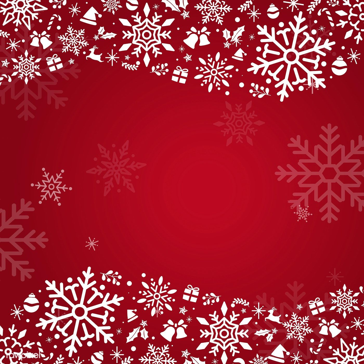 Red Christmas winter holiday background with snowflake