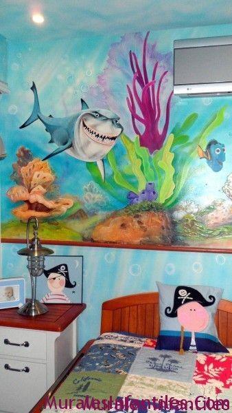 Mar 31 Mural Infantill De Nemo Y Habitacion Decorada Con Tema Marino