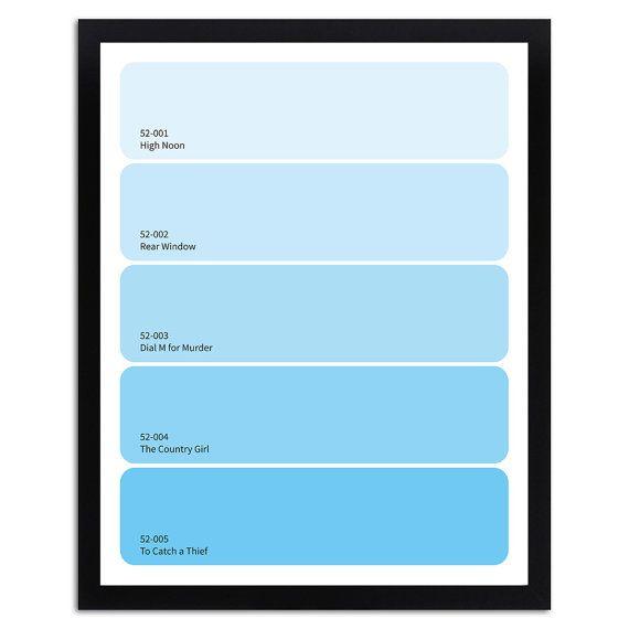 grace kelly paint chip art print // 11 x 14 // light blue ombre