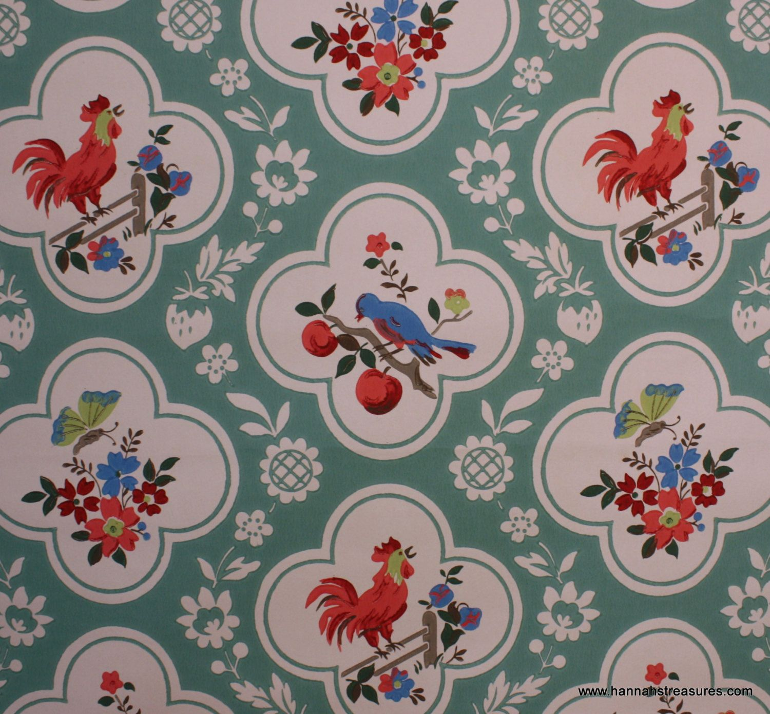 1940 S Vintage Wallpaper Red And Aqua With Birds Cherries Roosters Butterfly Retro Wallpaper Pattern Wallpaper Graphic Wallpaper