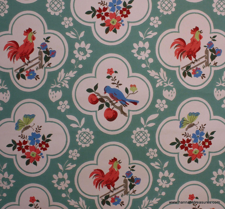 Kitchen Wallpaper Patterns Replacing Cabinet Doors 1940 39s Vintage Red And Aqua With Birds Cherries