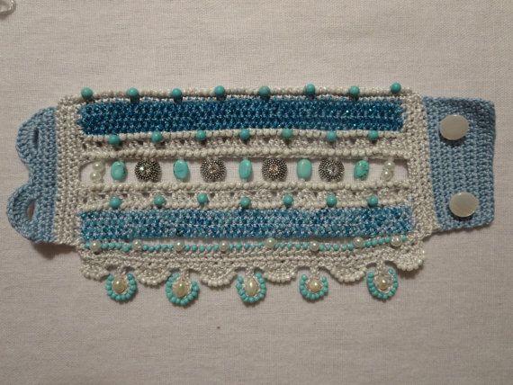 Pattern Bead Crochet Bracelet Cuff Turquoise Blue Pearl Swarovski