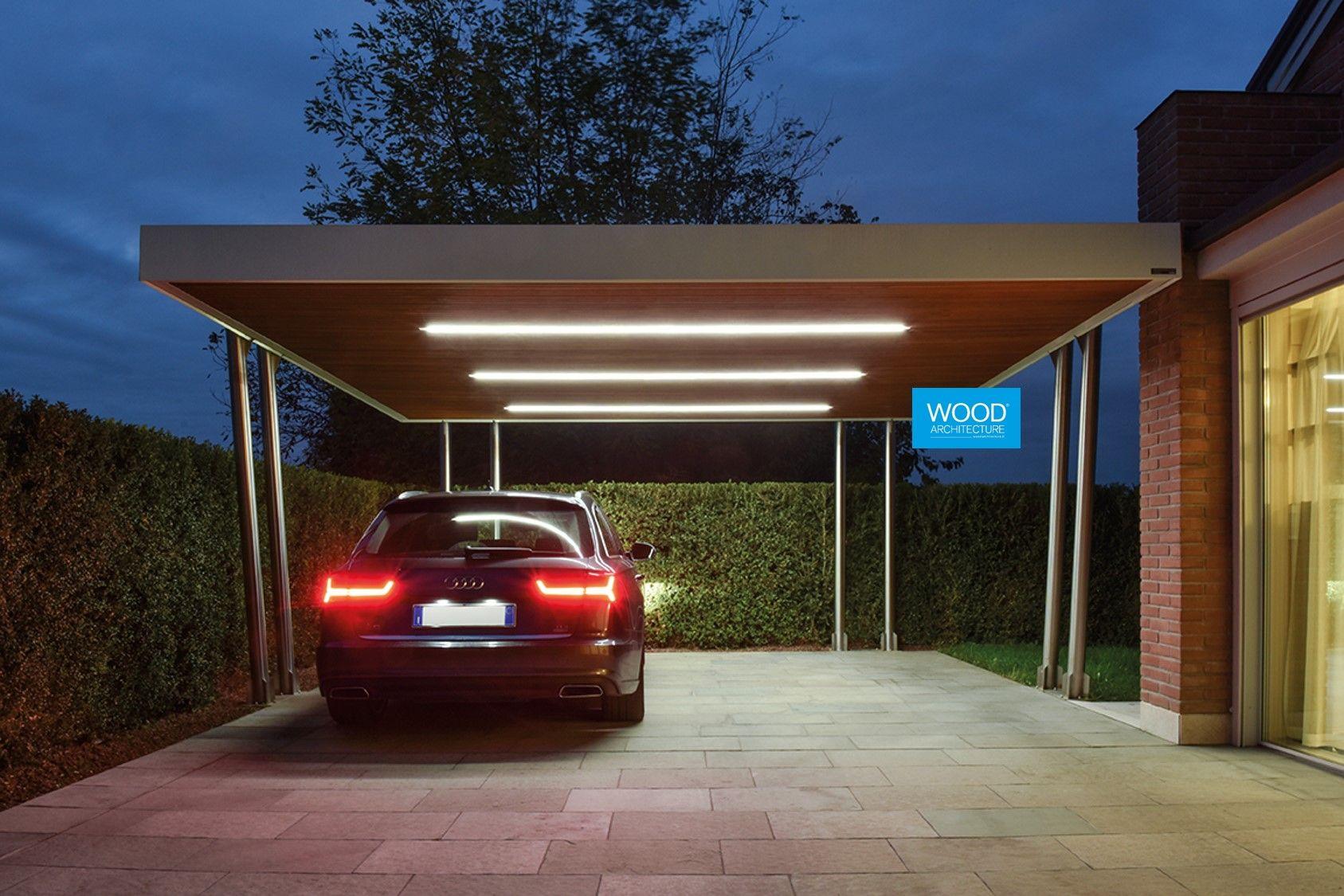 Luci Per Tettoia In Legno copertura retis auto per due posti auto, in abete lamellare
