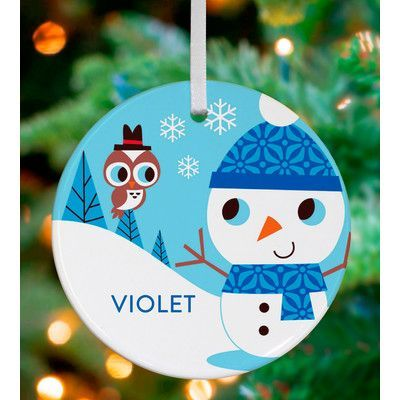 GreenBox Art Snowman and Owl Friend Personalized Ornament by Amy Blay