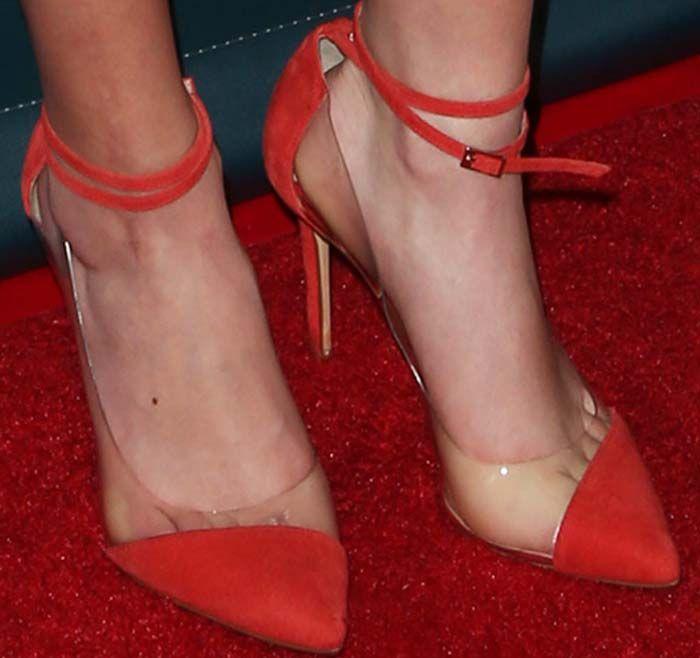 Miranda Cosgrove slips into a gorgeous pair of PVC toe cap pumps