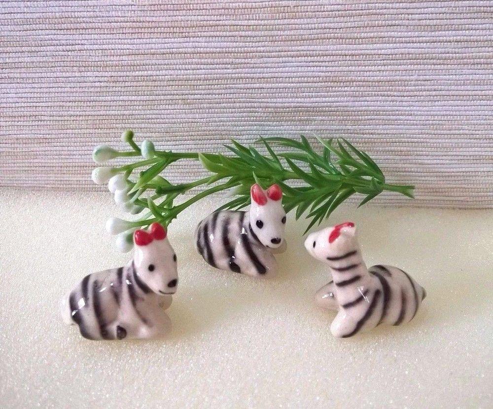 Miniature Zebra Animals Ceramic Figurines Collectible Home & Small ...
