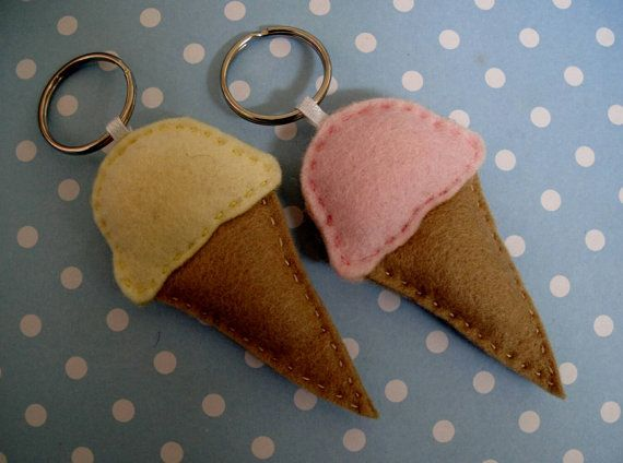 Ice Cream Felt Key Ring  Made with 100% wool felt. Ice Creams measure approximately 8.5cm tall. Handmade, hand-sewn and lightly stuffed.