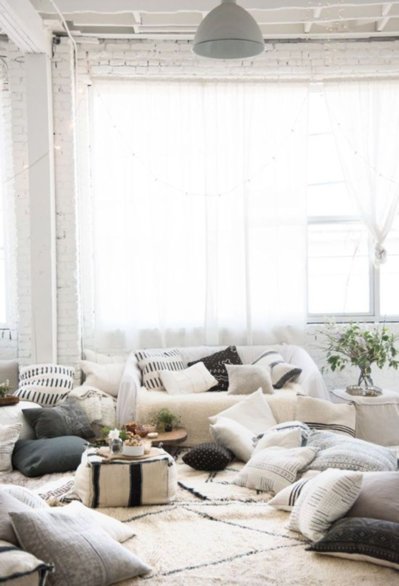 44 Cozy White Living Room Decorating Ideas Floor Seating F