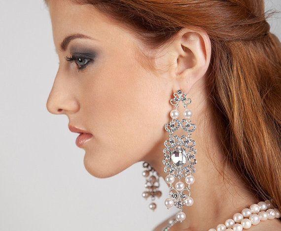 Bridal chandelier long dangle wedding crystal swarovski pearl bride earrings
