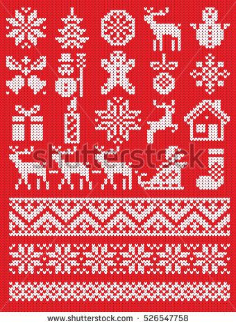 Christmas and New Year red and white knitting pattern elements ...