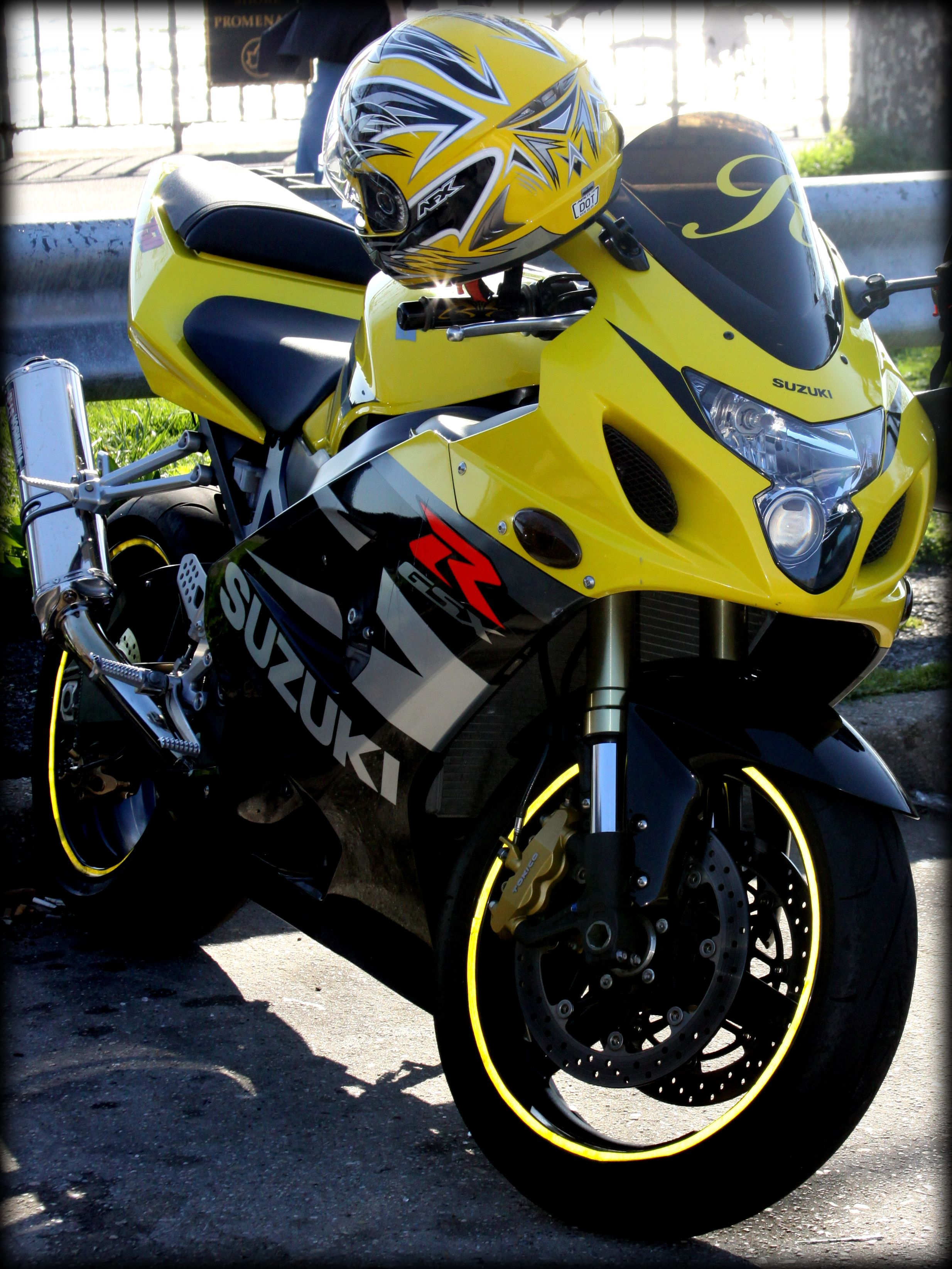 Yellow Suzuki Motorcycle near Verrazano Narrows Bridge, New York by