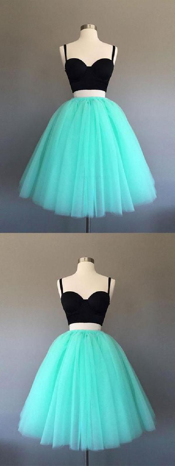 Colorful two piece aline short green in homecoming