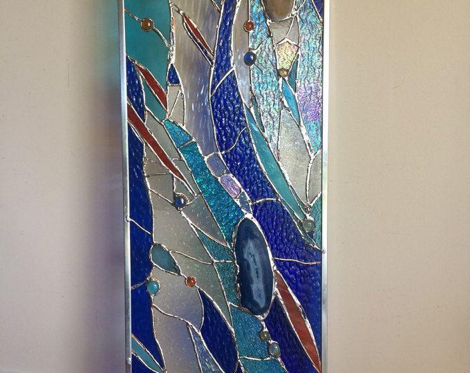 Vitrail abstrait laissait fen tre suncatcher panneau for Fenetre en vitrail