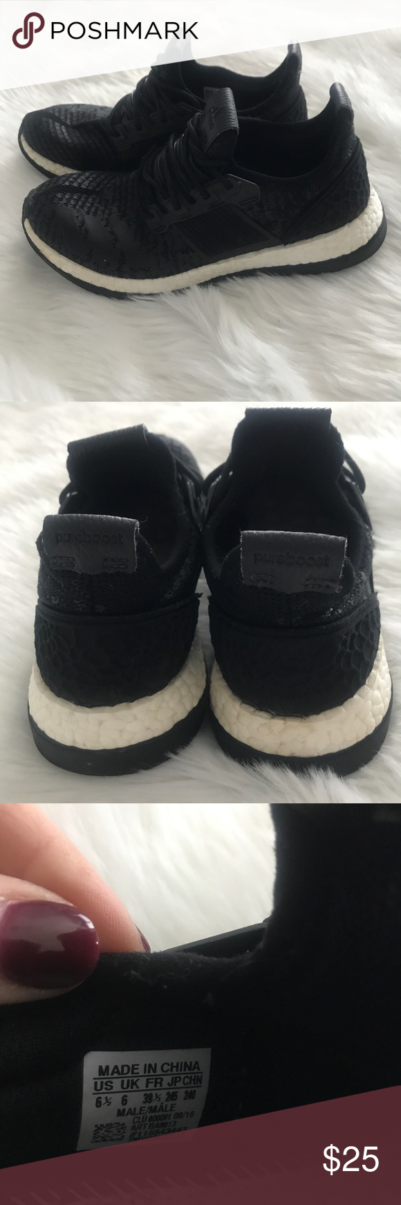 268d5981024f8 Boys Adidas Pureboost ZG Size 6.5 Super cool black Adidas Pureboost ZG!  Lots of life left in these great shoes. Size 6.5 adidas Shoes Sneakers