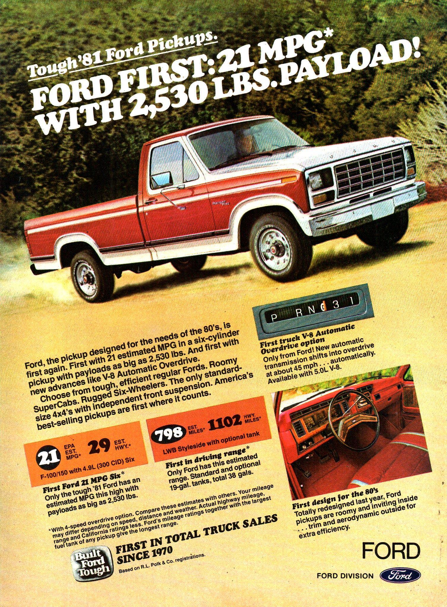 1981 Ford F Series Pickup Truck Usa Original Magazine Advertisement Trucks Ford Trucks Pickup Trucks