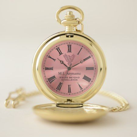 Rising phoenix retirement gift in rose pink pocket watch - tap, personalize, buy right now!