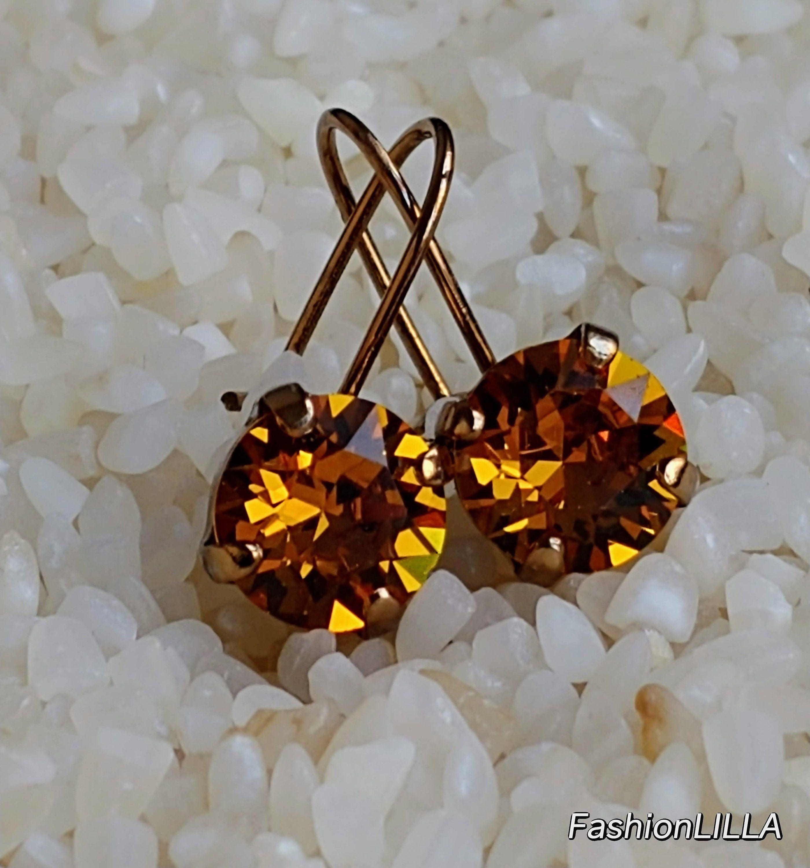 Swarovski Crystal Earringtopaz Earring Goldtopaz Earring Etsy Topaz Earrings Swarovski Crystal Earrings Antique Earrings