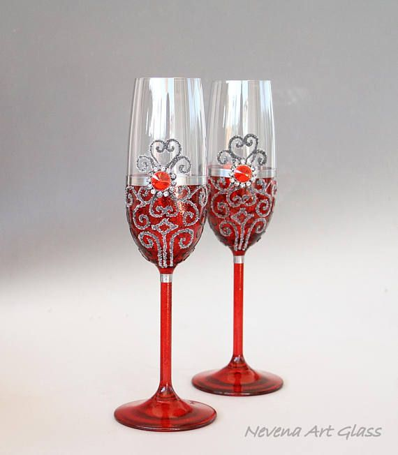red wedding glasses champagne flute wine glasses chapagne glasses hand paited set of 2. Black Bedroom Furniture Sets. Home Design Ideas