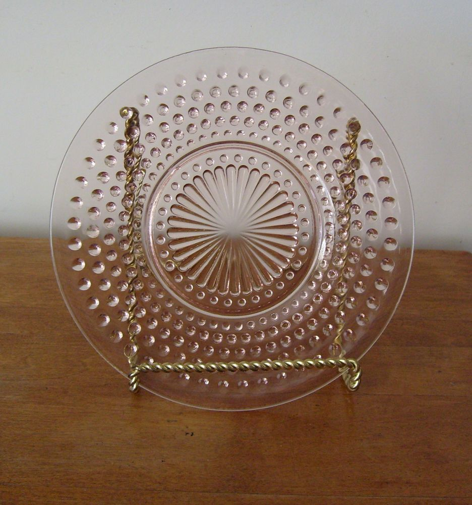 """Pink Hob Nail 8 1/2"""" Luncheon Plate, Anchor Hocking Glass Co., 1934-1936"""
