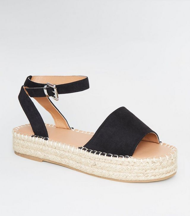 03ae8597d Black Suedette Espadrille Flatform Sandals in 2019 | Shoes glorious ...
