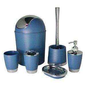 bathlux modern design 6 piece bathroom accessory set toilet brush waste bin soap