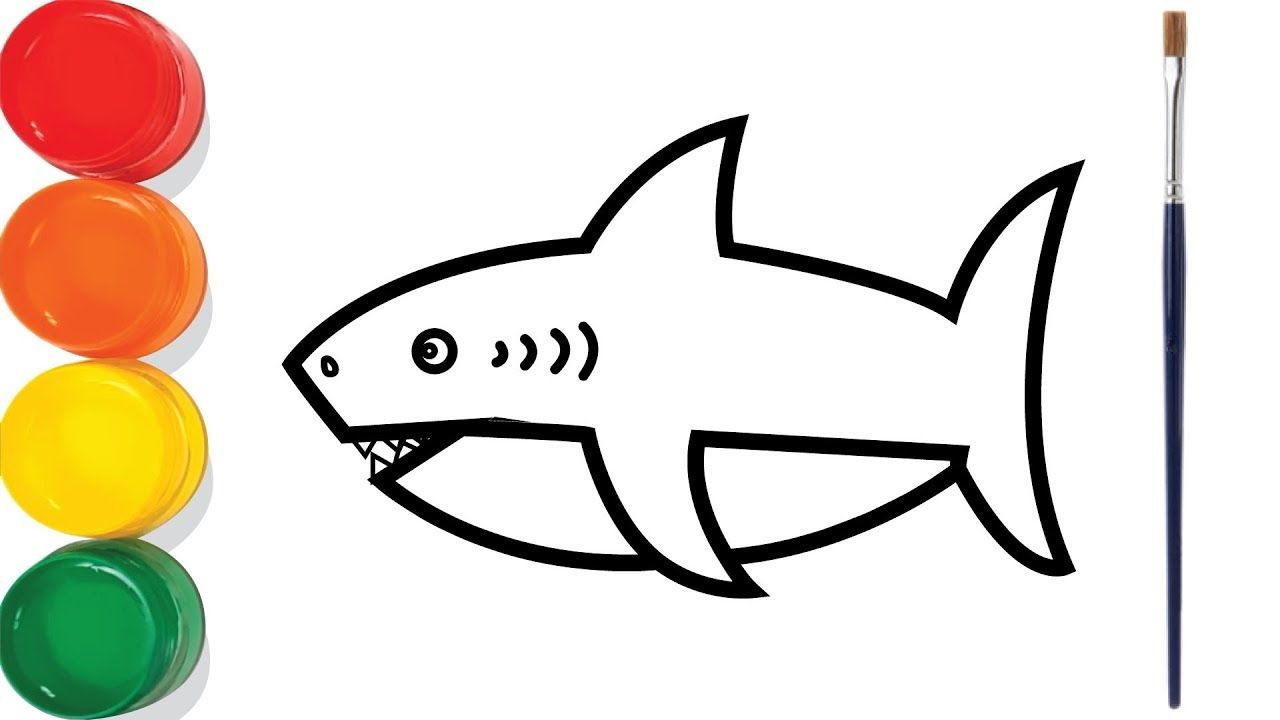 Shark Fish Drawing And Coloring For Kids Chuchu Colors Tv Shark Fishing Fish Drawings Coloring For Kids