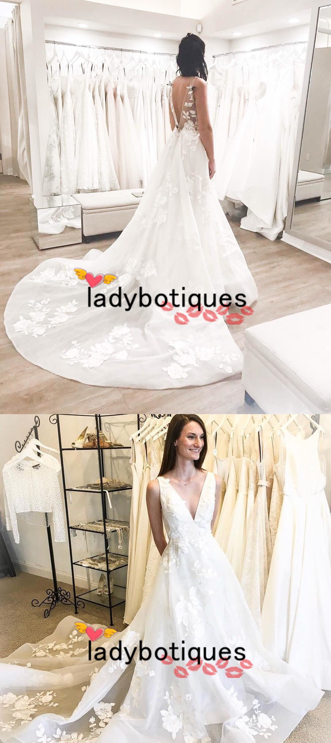 Wedding dress short in front with long train  Gorgeous White Long Wedding Dress with Train from Ladyboutiques