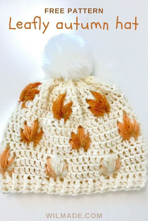 Free #crochet pattern to make this Leafly #autumn #hat on wilmade ...