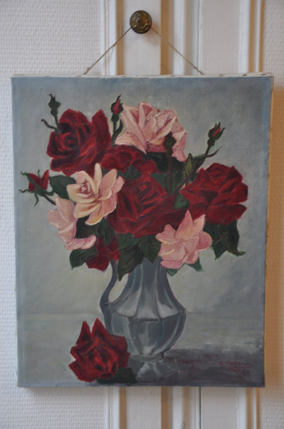 Red Roses Vintage French Oil Painting, Floral Bouquet Art