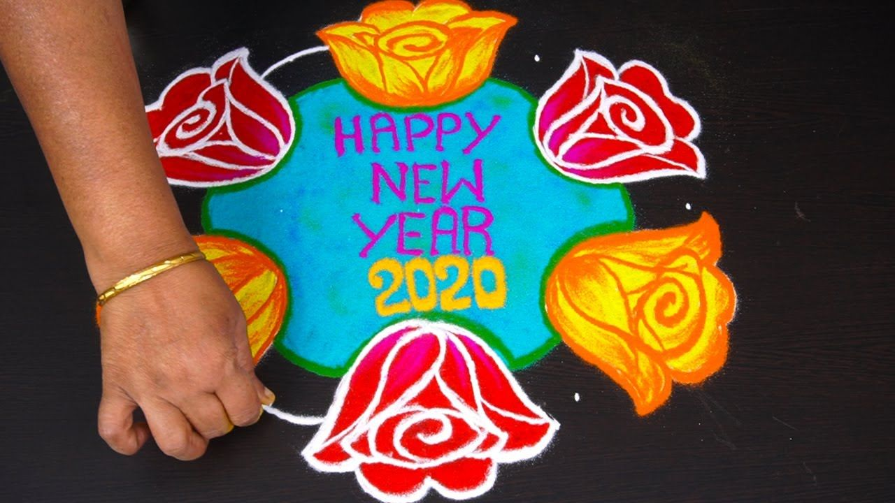 Simple rose rangoli for new year 2020 with 9x5 dots