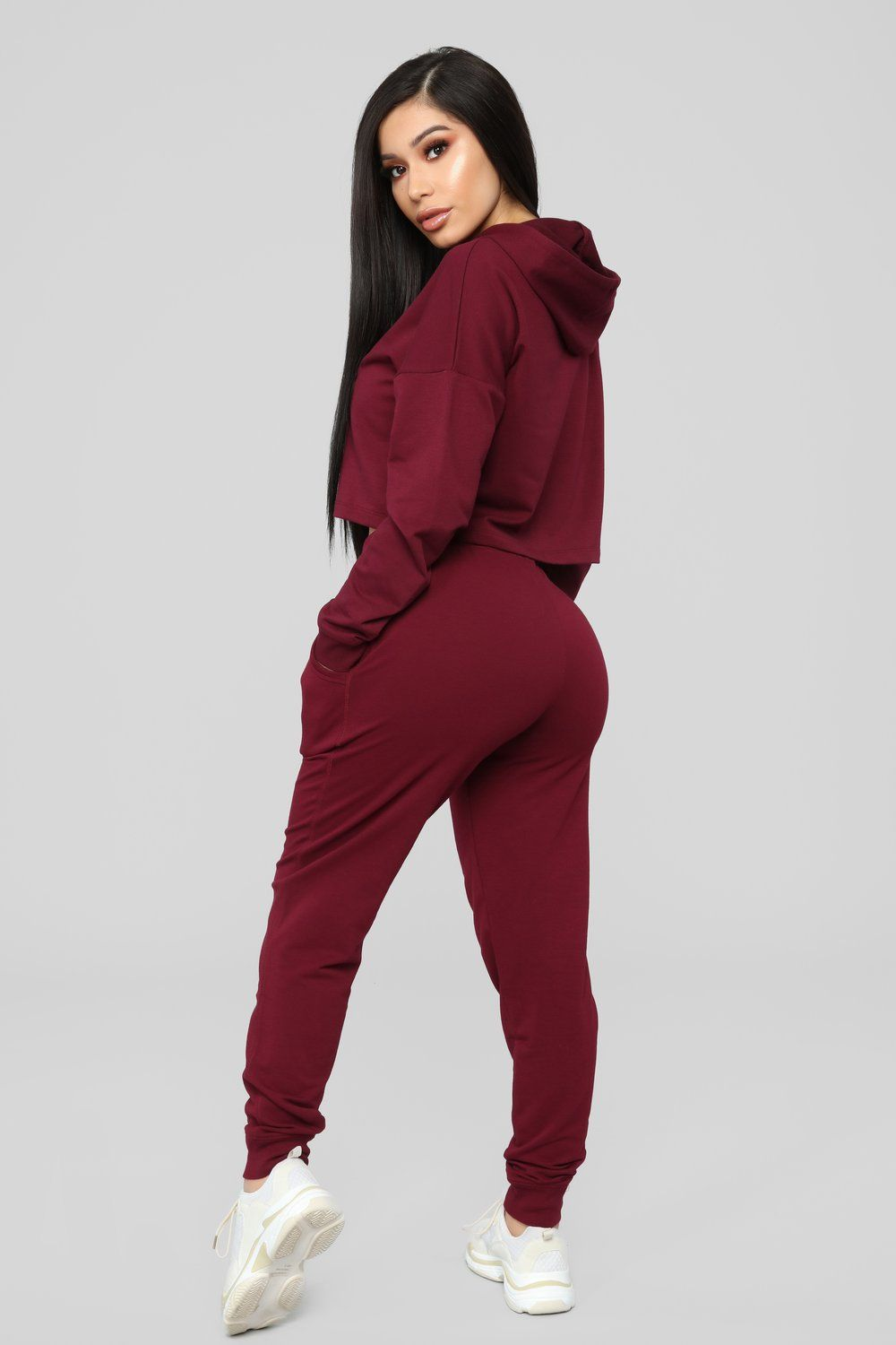 Latest And Greatest French Terry Jogger Burgundy Comfy Casual Outfits Solid Hoodie Cropped Hoodie