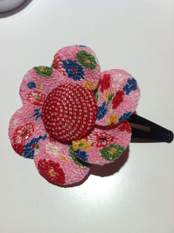 Hair clip with flower made from Kimono by AkeekoCorsageFactory, ¥800